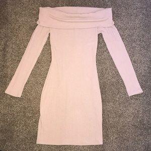 NWOT Beige off the shoulder dress